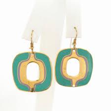 laurel burch earrings laurel burch abstract modernist green enamel pierced earrings