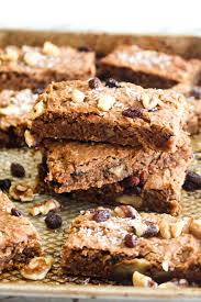 healthy carrot cake bars catching seeds