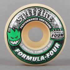 formula 4 spitfire spitfire wheels green print conical 101d formula four skateboard