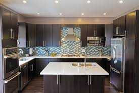 new dark kitchen cabinets with light granite picture of living