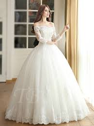 lace wedding dresses with sleeves the shoulder gown 3 4 length sleeves lace wedding dress