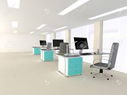 interior of a bright white modern minimalist office interior