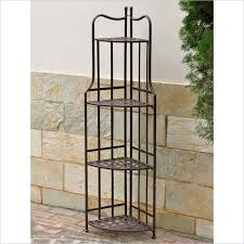 Contemporary Bakers Rack Shelves Extraodinary Outdoor Corner Shelf Outdoor Corner Plant