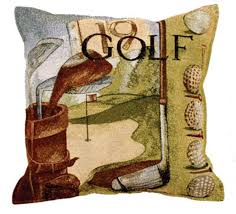 amazon com vintage golf golfing tapestry toss pillow usa made