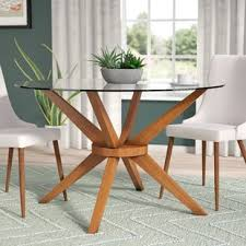 Glass Wood Dining Room Table Glass Kitchen Dining Tables You Ll Wayfair