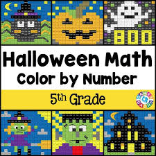 halloween math color by number 5th grade u2013 games 4 gains