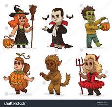halloween children background avector cartoon image seven children variety stock vector