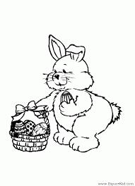 coloriage lapin ramassant des oeufs de pâques coloriages lapins