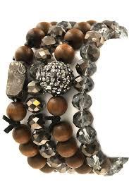 bead bracelet set images Pave ball faceted wood bead bracelet set bracelets jpg