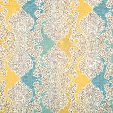 Yellow Home Decor Fabric Aqua Blue Damask Upholstery Fabric Woven Yellow Blue Medallion