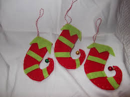 felt elf shoe hanging decorations felt crafts pinterest elf