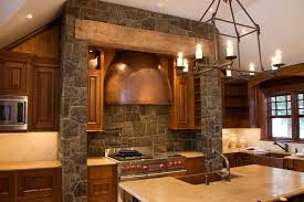 captivating stone kitchen designs with stone backsplash and wood