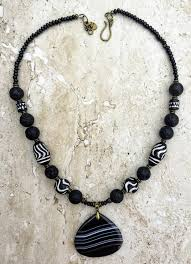 necklace rock images African tribal clay beads lava rock large agate black white JPG
