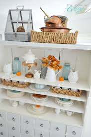 Cottage Home Decorating by Autumn Apothecary Open Cabinet Shelf Decorating Ideas