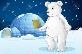 illustrtion of a polar bear and igloo royalty free cliparts