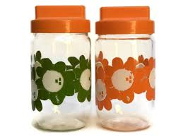 1970s orange and green kitchen glass canister set vintage henkel