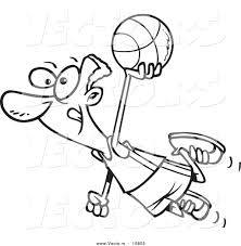 vector of a cartoon black basketball player flying coloring page