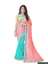 pink clothing pink and sky blue embroidery net designer saree
