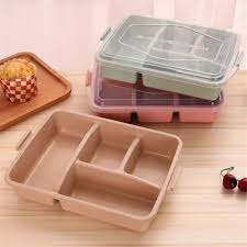 baking container storage 4 grid wheat straw plastic microwave tableware lunch bento box kids