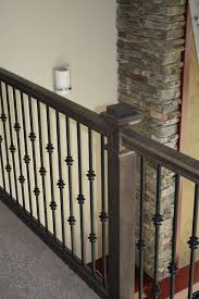 Iron Banisters And Railings Oak Stair Railing U0026 Iron Balusters Justin Doyle Homes