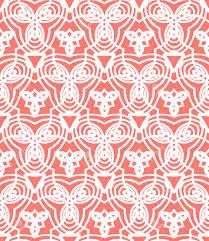 Papier Peint Art Nouveau Vintage Art Déco Motif De Vecteur Dans Le Corail Rouge Et Blanc