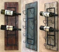 wine rack wall wood 5 bottle holder with metal home decor