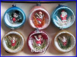 vintage japan indent diorama tree ornaments glass