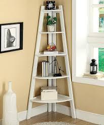 Tiered Bookshelf White Five Shelf Corner Display Stand
