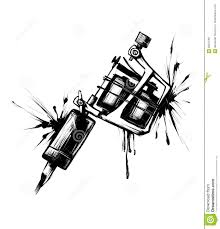 tattoo gun sketch tattoo machine with spray ink stock illustration illustration of