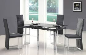 Black Dining Room Set Chair Glass Kitchen Table Sets Rectangular Roselawnlutheran Dining