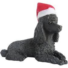 sandicast black poodle with santa hat