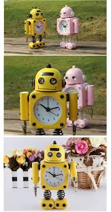 decorative clock creative robot alarm clock mute clock message clips home