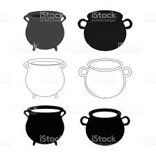halloween witch pot empty witch cauldron pot set stock vector art 494473686 istock