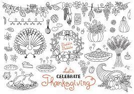 lets celebrate thanksgiving day doodles set traditional symbols