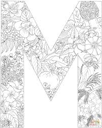 letter m with plants coloring page free printable coloring pages