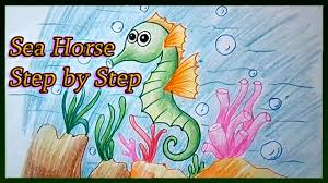 how to draw a cartoon seahorse cute step by step for kids youtube