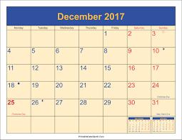 printable december 2016 calendar pdf december 2017 calendar with holidays monthly calendar 2017