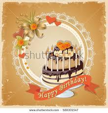 vector illustration birthday scrapbooking card cupcake stock