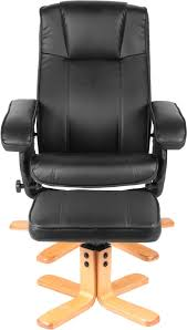 Black Swivel Chair Premier Recliner Swivel Chair With Footstool In Black Faux Leather