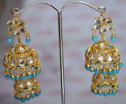 lotan earrings kundan lotan earrings with firozi j0420 j0420