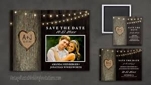 rustic save the date oak tree save the date cards vintage rustic wedding invitations