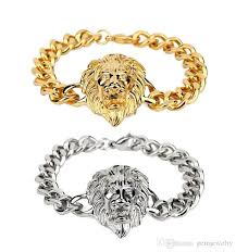 gold charm bracelet chains images New men 39 s gold plated lion head bracelet cool fashion hip hop jpg