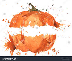 symbol halloween stuff pumpkin hand painted stock illustration