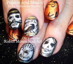halloween nails poison bottle crow skulls halloweennails
