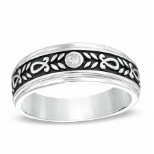 floral wedding band men s diamond accent floral wedding band in sterling silver with