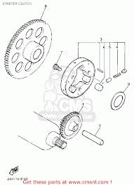 yamaha xv535 virago 1990 l usa starter clutch schematic partsfiche