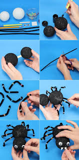 easy to make halloween party decorations diy halloween craft projects kids ideas spider foam balls pipe