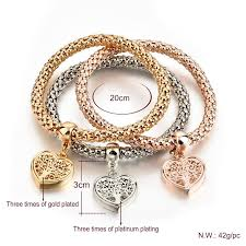 gold plated silver heart bracelet images Tree of life quot heart edition charm bracelet with real austrian jpg