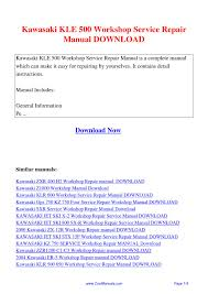 kawasaki kle 500 workshop service repair manual pdf by guang hui