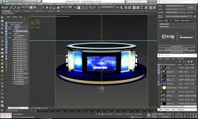 News Studio Desk by Virtual Tv Studio News Desk 3d Professional Cgtrader